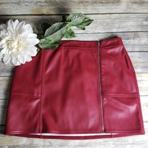 Red Leather, Zipup Express Skirt